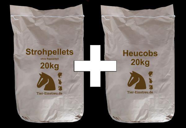 AKTION! Strohpellets + Heucobs in 20kg-Papiersäcken! Palette: 960kg inkl. Versand